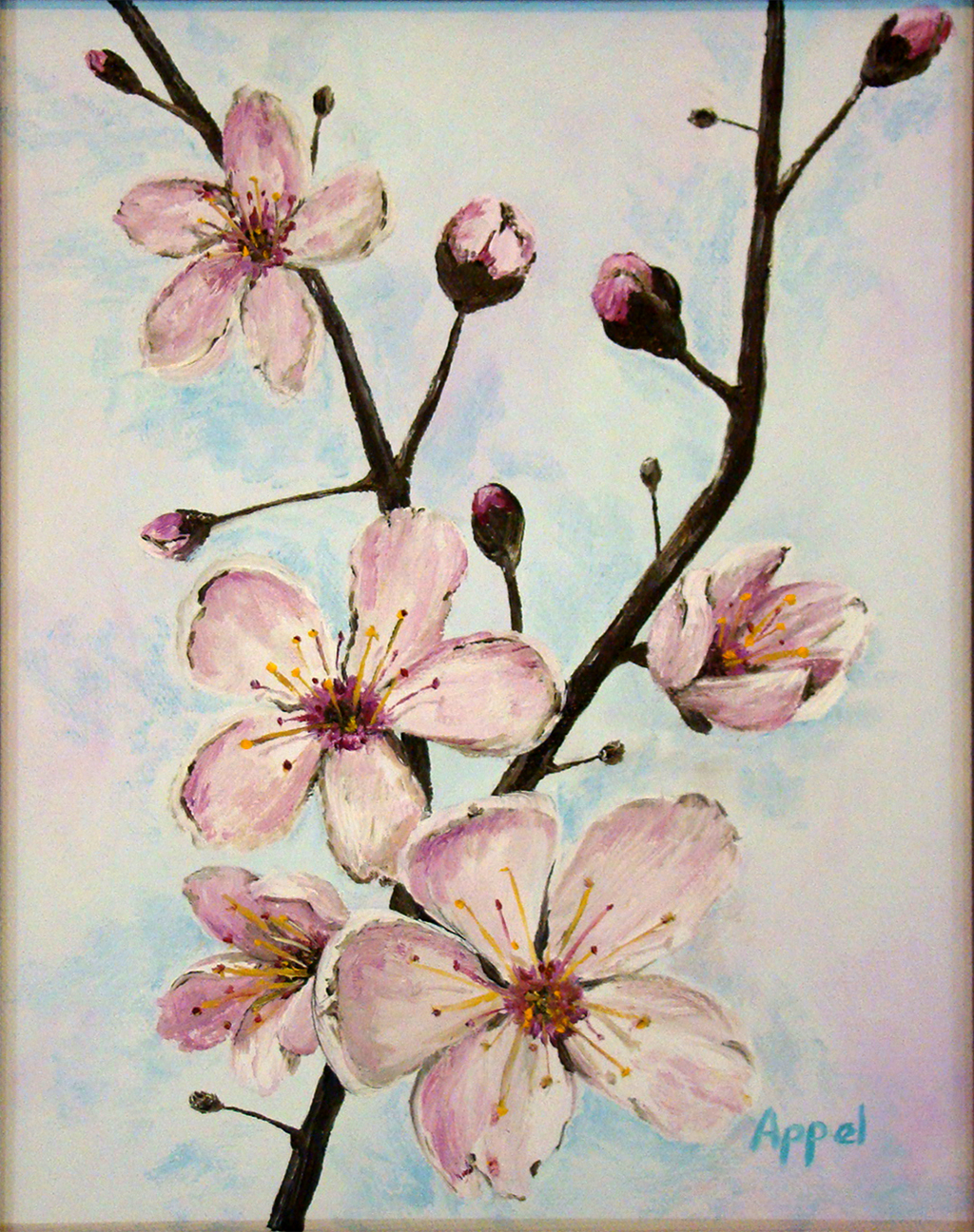 Cherry blossom oil painting canvas the for Canvas painting of cherry blossoms